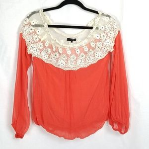 Lace and beaded Boutique sheer balloon top